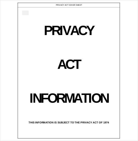 editable privacy act covet sheet free download