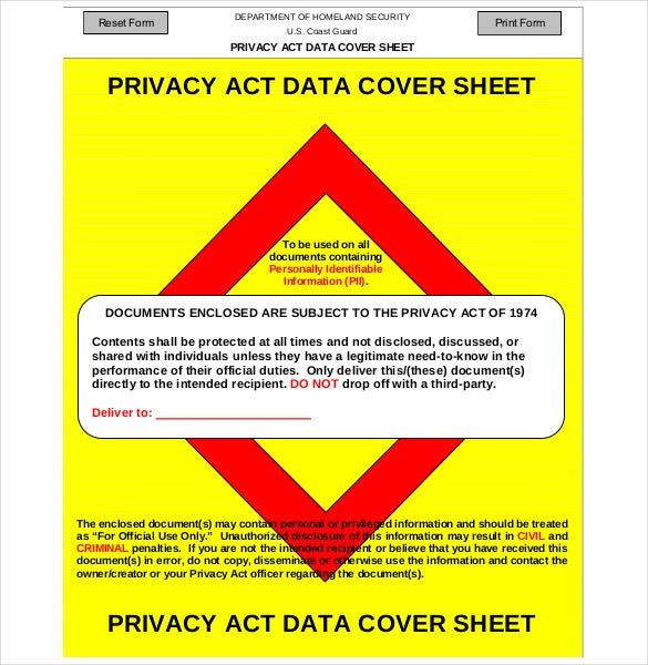 printable privacy act covet sheet free download