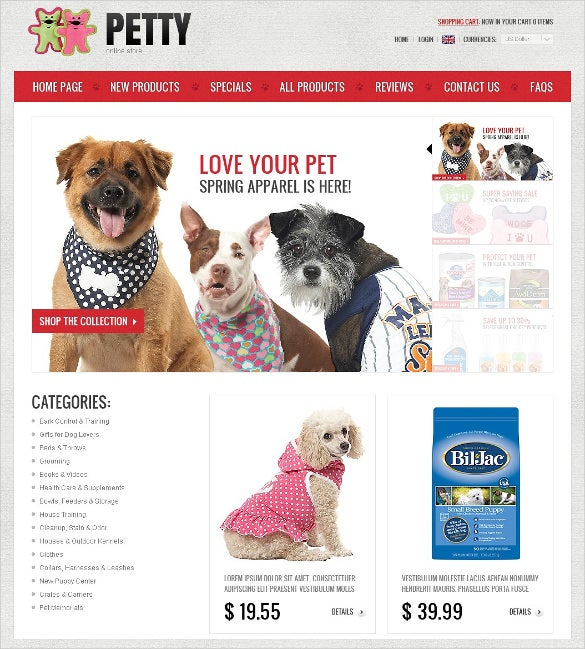 animal pet store zencart template 1391