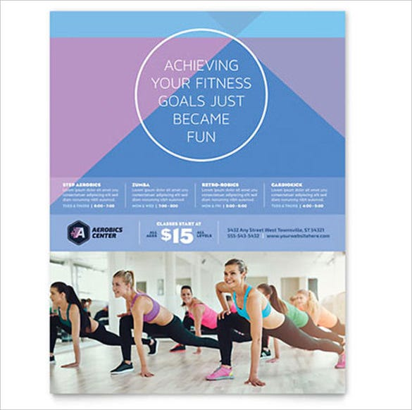 aerobics club flyer template