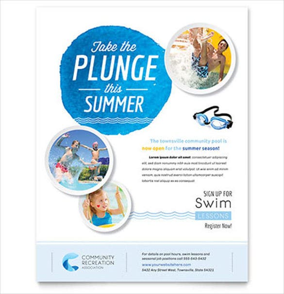 swimming community club flyer template