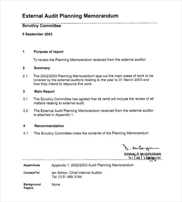 external audit planning memorandum pdf document