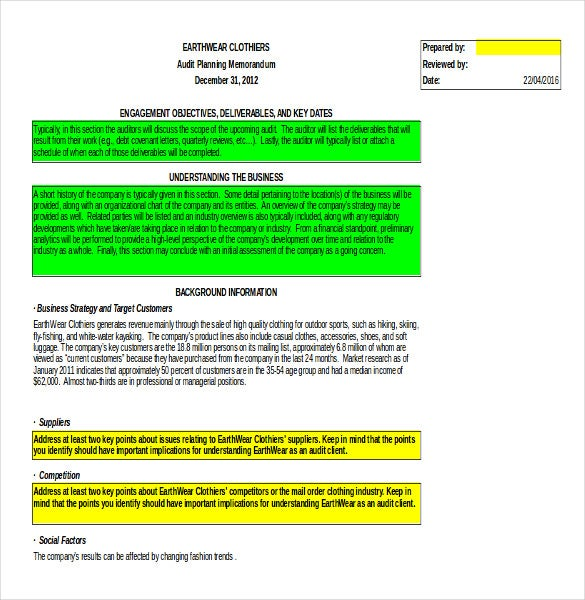audit planning memo template ms excel download