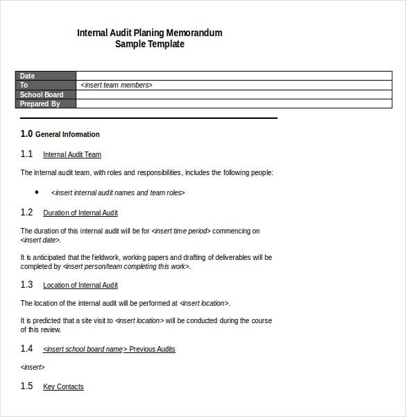 internal audit planning memorandum template word document download
