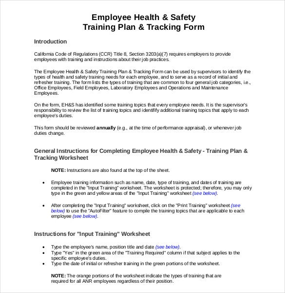 employee health safety training plan and track form pdf format download