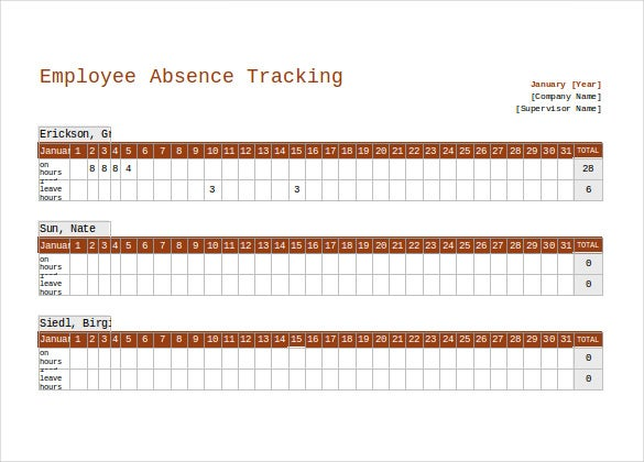 employee absence tracking excel format template