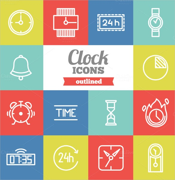 outlined clock icon set download