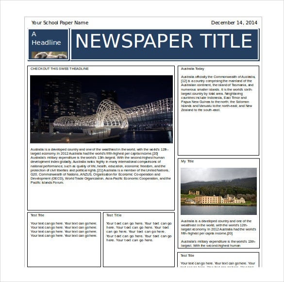 great newspaper word format free template
