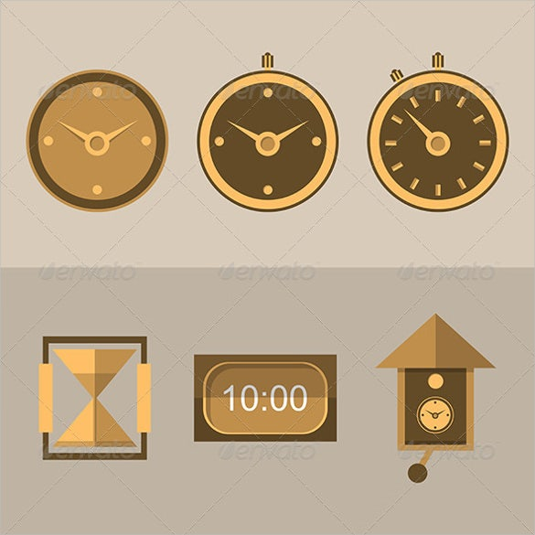 six brown flat icons set download