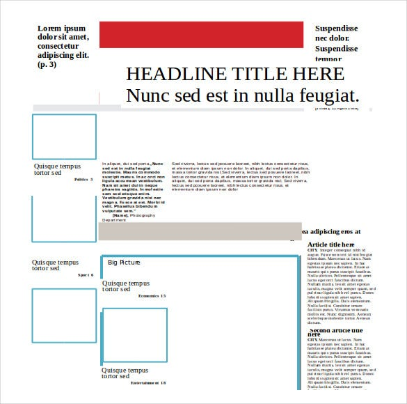 fovourite newspaper template word free download