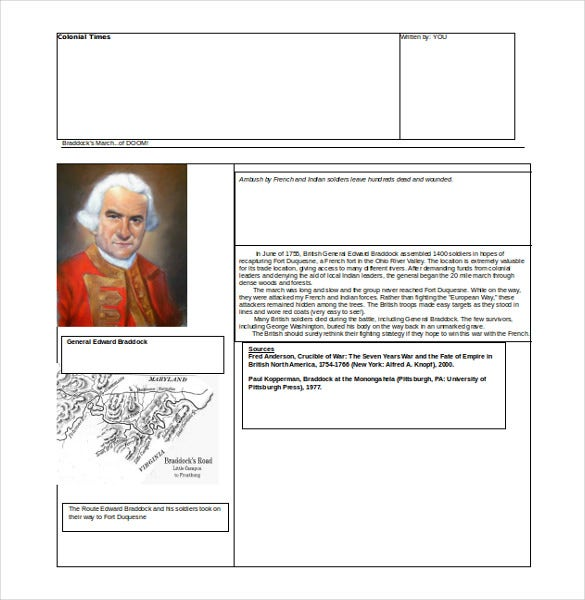 colonial times newspaper free word template