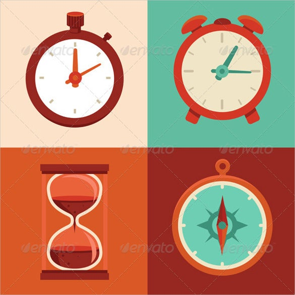 creative time clock flat icons download