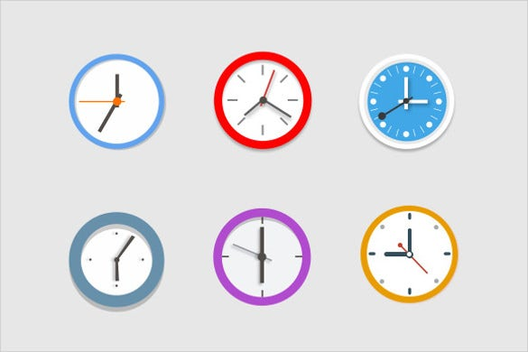 6 colourful clock icons download