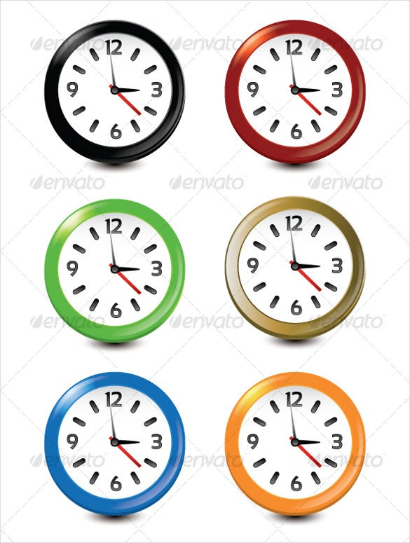 6 fully editable vector clock icon set download
