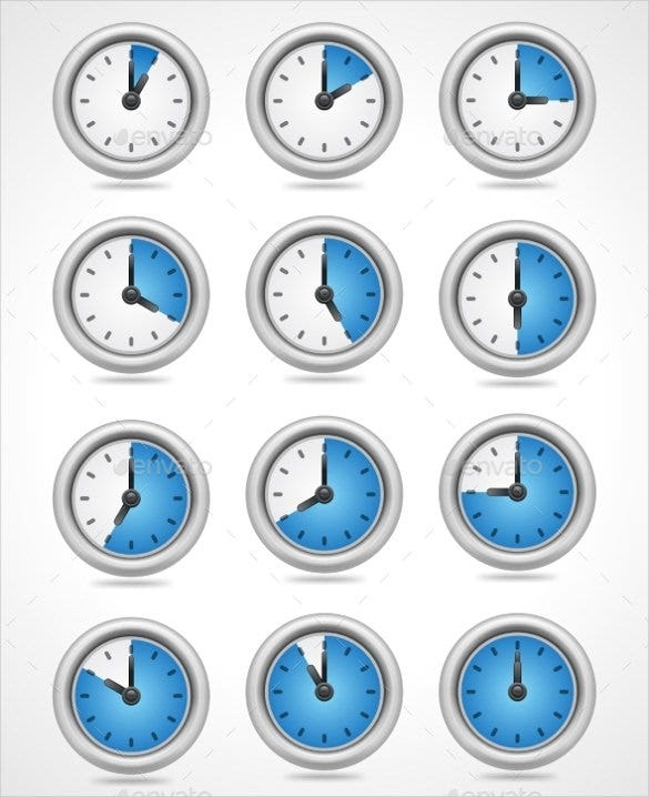 vector round clock icons set download