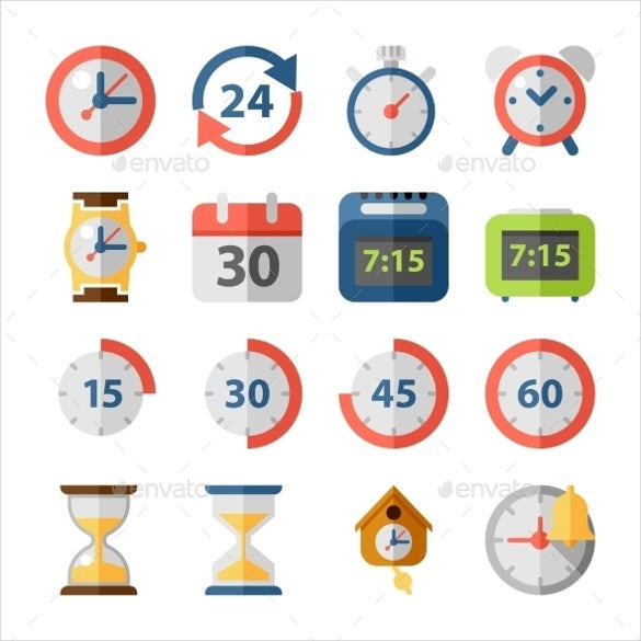 amazing clock time icon set download