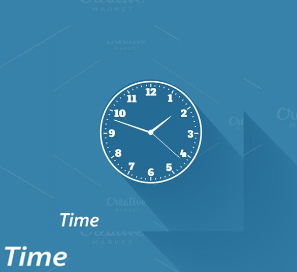 flat clock icons for designers