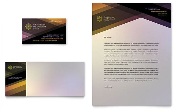 rehab business card letterhead template