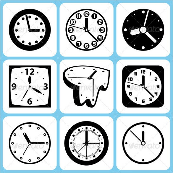 black white clock vector icons set download