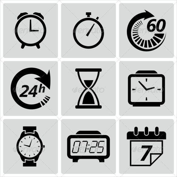alarm clock icon set download