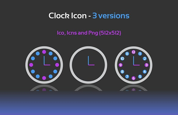 3 versions clock icon download