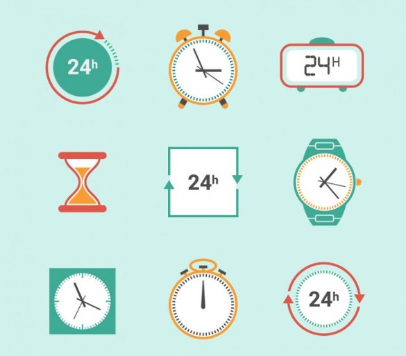 free downloadable clock icons set