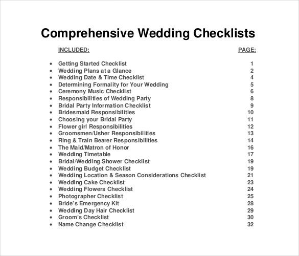 Free Wedding List Template For