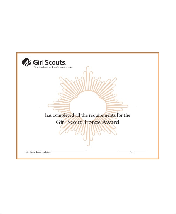 girl scout certificate template 5 free pdf documents download free premium templates. Black Bedroom Furniture Sets. Home Design Ideas
