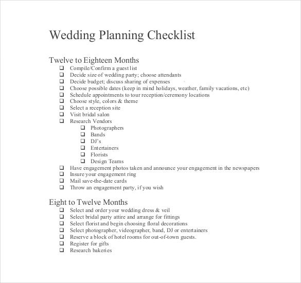 Wedding List Templates  Free Sample Example Format Download
