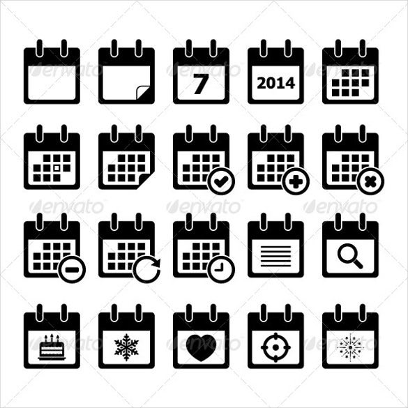 fully editable dark calendar icons bundle
