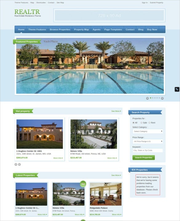 responsive real estate website theme