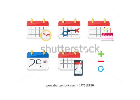 flat design calendar icons download