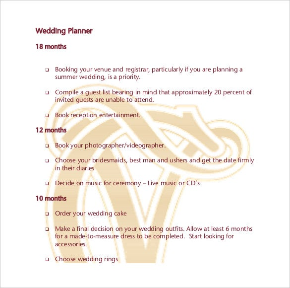 wedding planner template pdf format free download