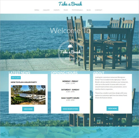 restaurent responsive one page website theme