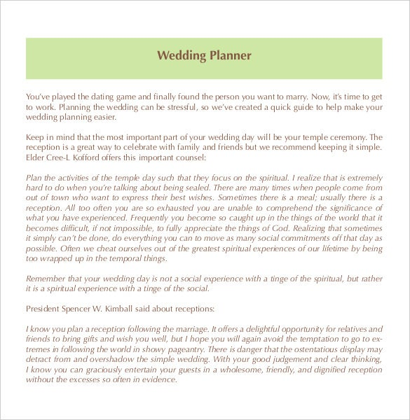editable wedding planner template for free download