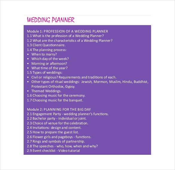 colorful wedding planner template for free download