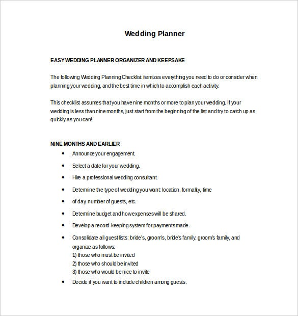 easy to edit wedding planner template free download