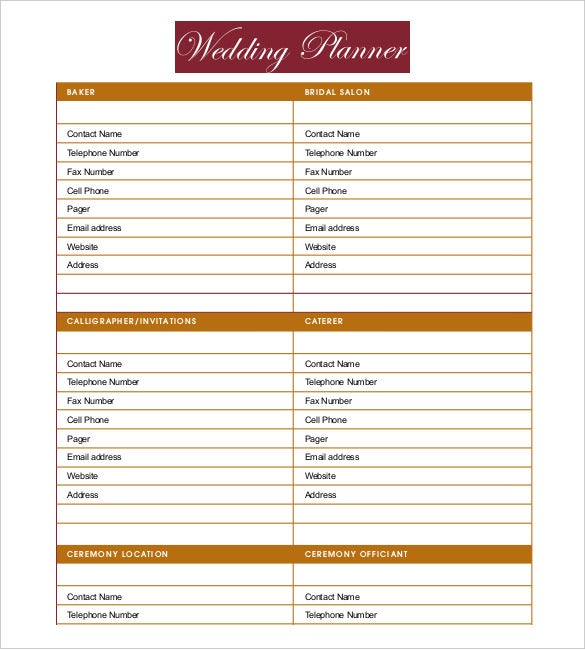 13 wedding planner templates free sample example for Free wedding planner templates