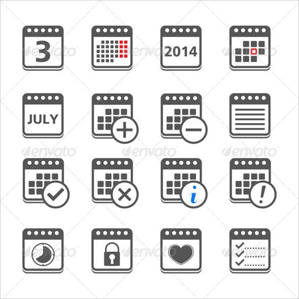 dark calendar icons bundle
