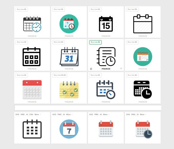 date and event schedule calendar icons
