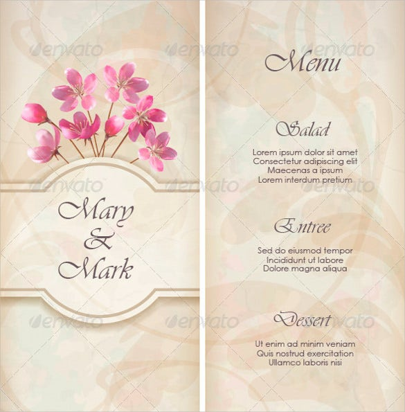 print ready wedding menu template for download