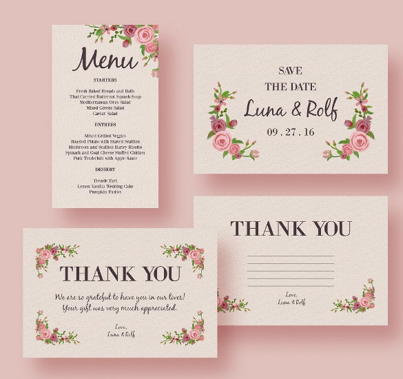 ready to print wedding menu template for download