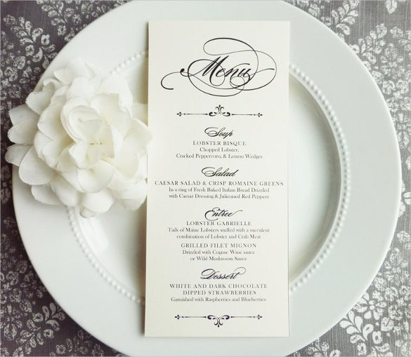 This Elegant Wedding Reception Menu Template Has Digital Cards That Are Single Sided 4X9 Inches And Can Be Printed On A High Quality Card Stock