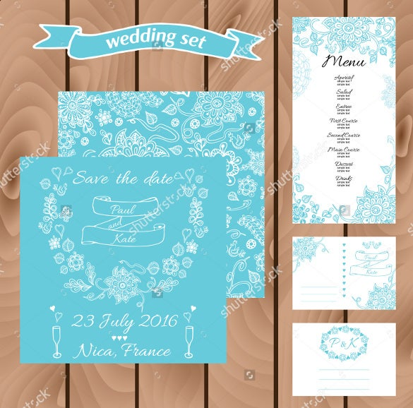 designed wedding menu template for downlaod