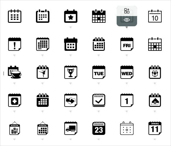 flat week names calendar icons bundle