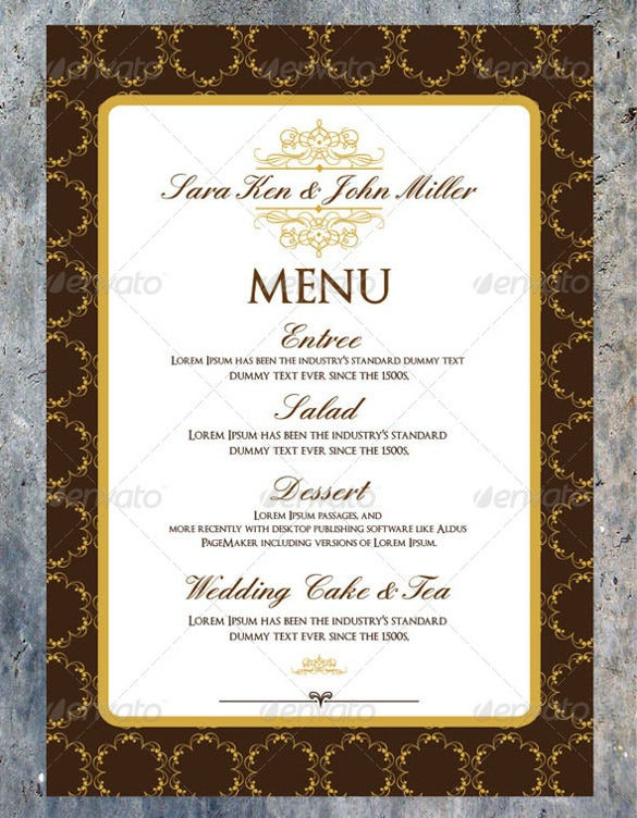 printable wedding menu doenload