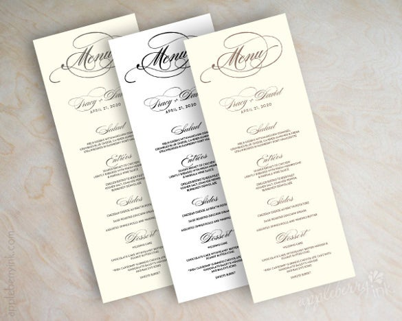 Wedding Menu Templates  Free Sample Example Format Download