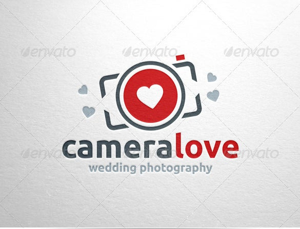 beautiful photography logo with love symbol