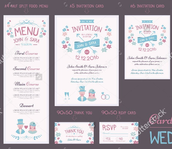 wedding menu with invitation for download