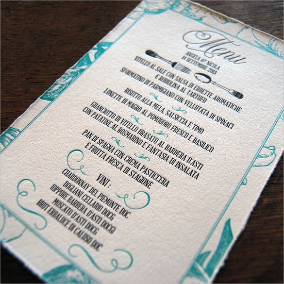 wedding menu template for free download